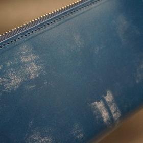 トーマスウエア社のブライドルレザーのブルーカラーのラウンドファスナー長財布の画像3