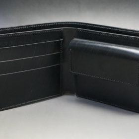 クレイトン社のブライドルレザーのブラックカラーの二つ折り財布(小銭入れ付き)の画像5