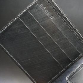 クレイトン社のブライドルレザーのブラックカラーの二つ折り財布(小銭入れ付き)の画像6