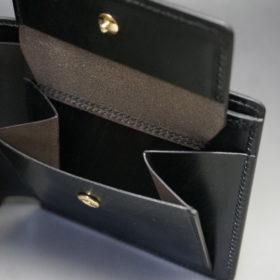 クレイトン社のブライドルレザーのブラックカラーの二つ折り財布(小銭入れ付き)の画像8
