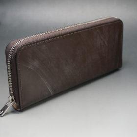 メトロポリタン社のブライドルレザーのダークブラウンカラーのラウンドファスナー長財布の画像2