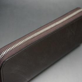 メトロポリタン社のブライドルレザーのダークブラウンカラーのラウンドファスナー長財布の画像4