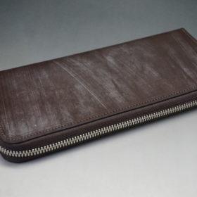 メトロポリタン社のブライドルレザーのダークブラウンカラーのラウンドファスナー長財布の画像5