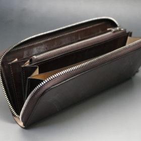 メトロポリタン社のブライドルレザーのダークブラウンカラーのラウンドファスナー長財布の画像9
