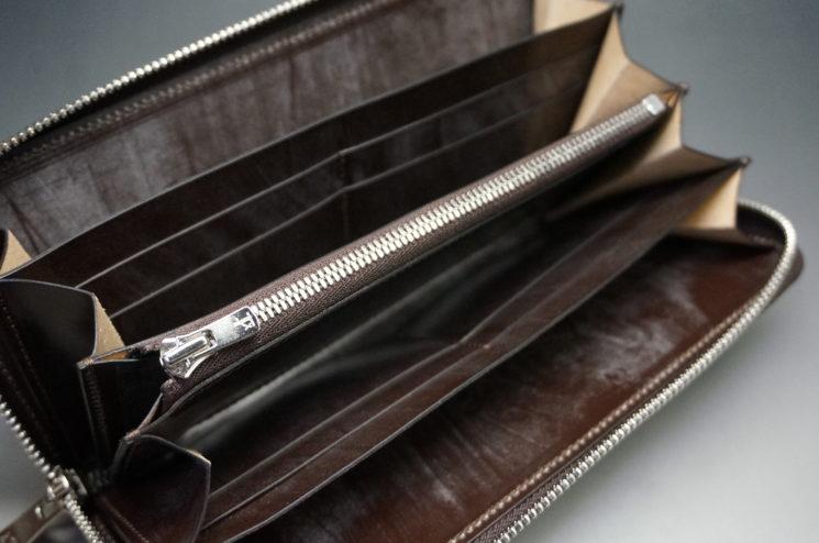 メトロポリタン社のブライドルレザーのダークブラウンカラーのラウンドファスナー長財布の画像10