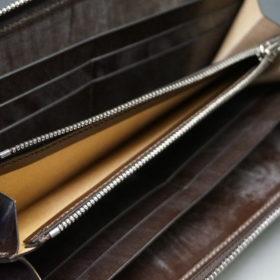 メトロポリタン社のブライドルレザーのダークブラウンカラーのラウンドファスナー長財布の画像11