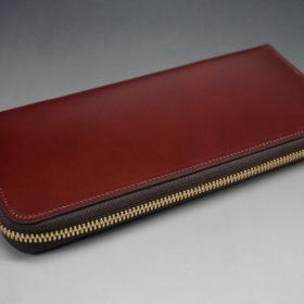 新喜皮革社の顔料仕上げコードバンのアンティークカラーのラウンドファスナー長財布の画像5