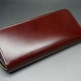 新喜皮革社の顔料仕上げコードバンのアンティークカラーのラウンドファスナー長財布の画像8