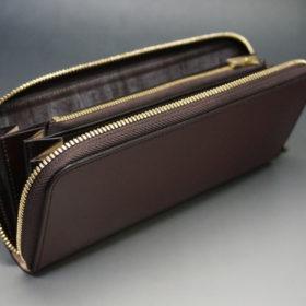 新喜皮革社の顔料仕上げコードバンのアンティークカラーのラウンドファスナー長財布の画像9