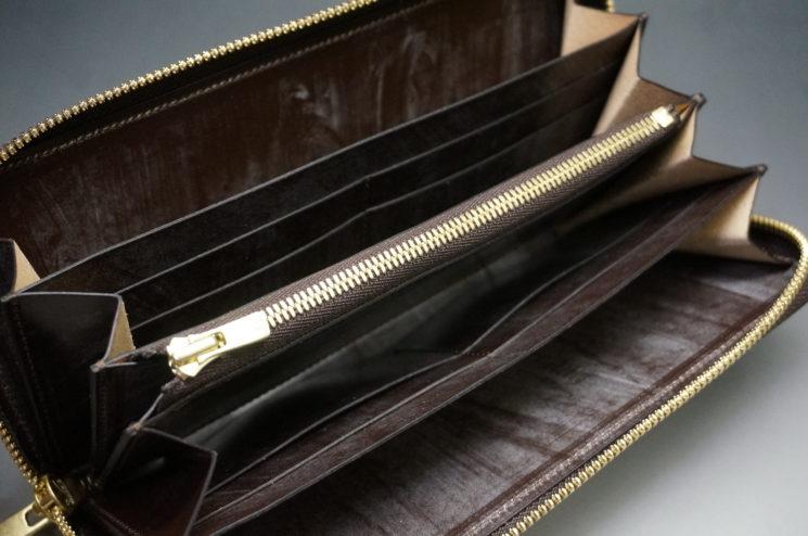 新喜皮革社の顔料仕上げコードバンのアンティークカラーのラウンドファスナー長財布の画像10