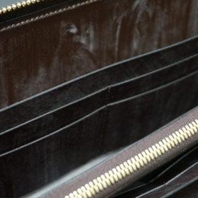 新喜皮革社の顔料仕上げコードバンのアンティークカラーのラウンドファスナー長財布の画像12