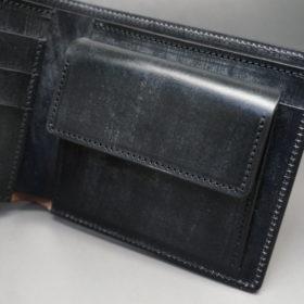 メトロポリタン社のブライドルレザーのブラックカラーの二つ折り財布(小銭入れ付き)の画像8