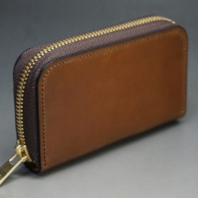 ホーウィン社製シェルコードバンのバーボンカラーのラウンドファスナー小銭入れ-2