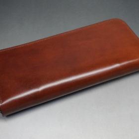 新喜皮革社のオイルコードバンのアンティークカラーのラウンドファスナー長財布3