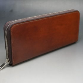 新喜皮革社のオイルコードバンのアンティークカラーのラウンドファスナー長財布8