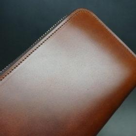 新喜皮革社のオイルコードバンのアンティークカラーのラウンドファスナー長財布9