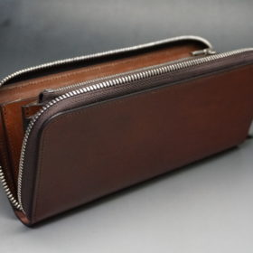 新喜皮革社のオイルコードバンのアンティークカラーのラウンドファスナー長財布10