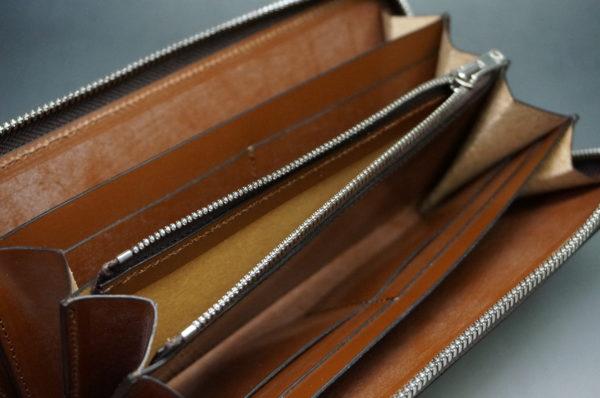 新喜皮革社製オイルコードバンのアンティークカラーのラウンドファスナー長財布12
