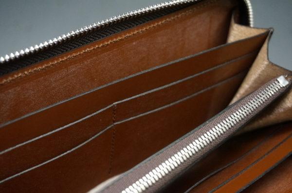 新喜皮革社のオイルコードバンのアンティークカラーのラウンドファスナー長財布13