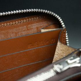 新喜皮革社のオイルコードバンのアンティークカラーのラウンドファスナー長財布14