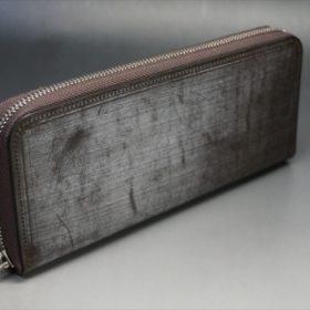 セドウィック社製ブライドルレザー(ベンズ部位)を使用したチョコカラーのラウンドファスナー長財布(シルバー色)2