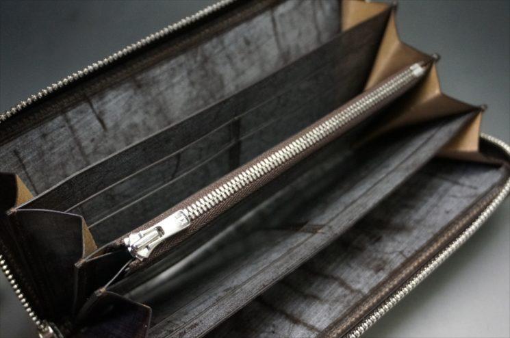 セドウィック社製ブライドルレザー(ベンズ部位)を使用したチョコカラーのラウンドファスナー長財布(シルバー色)8