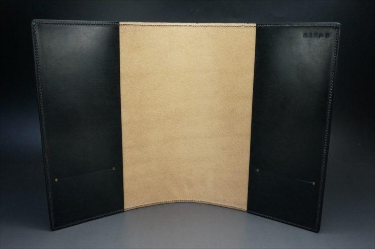 A5判手帳カバーのブラックカラーの内側の全体画像
