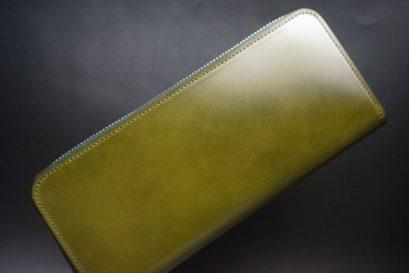 新喜皮革社製オイルコードバンのグリーンを使用したラウンドファスナー長財布-1