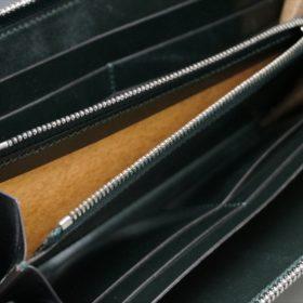 新喜皮革社製オイルコードバンのグリーンを使用したラウンドファスナー長財布-10