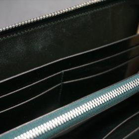 新喜皮革社製オイルコードバンのグリーンを使用したラウンドファスナー長財布-11