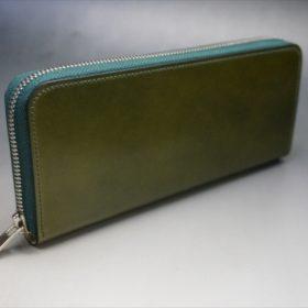 新喜皮革社製オイルコードバンのグリーンを使用したラウンドファスナー長財布-2