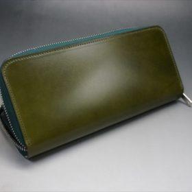 新喜皮革社製オイルコードバンのグリーンを使用したラウンドファスナー長財布-5