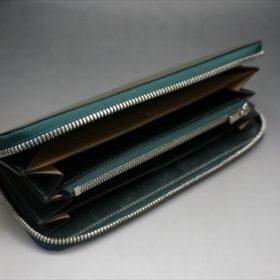 新喜皮革社製オイルコードバンのグリーンを使用したラウンドファスナー長財布-6