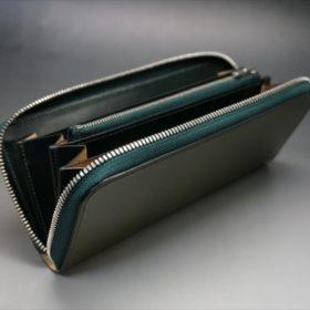新喜皮革社製オイルコードバンのグリーンを使用したラウンドファスナー長財布-7