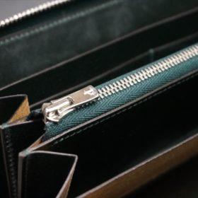 新喜皮革社製オイルコードバンのグリーンを使用したラウンドファスナー長財布-9