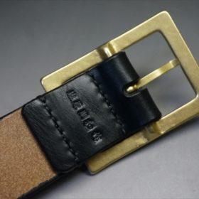 J.ベイカー社製ブライドルレザーのブラックのゴールドバックルのベルトのSSサイズの刻印画像