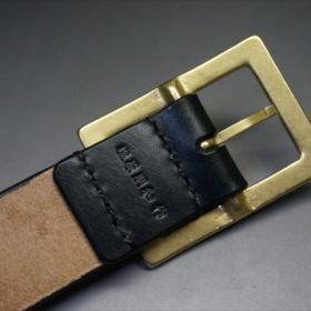 J.ベイカー社製ブライドルレザーのブラックのゴールドバックルのベルトのSサイズの刻印