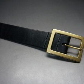 J.ベイカー社製ブライドルレザーのブラックカラーのベルトのバックル周り-2