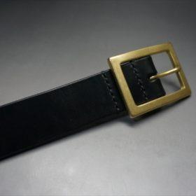 J.ベイカー社製ブライドルレザーのブラックカラーのベルトのバックル周り-3
