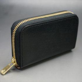 セドウィック社製ブライドルレザーのブラック色のラウンドファスナー小銭入れ(ゴールド色)-1-2