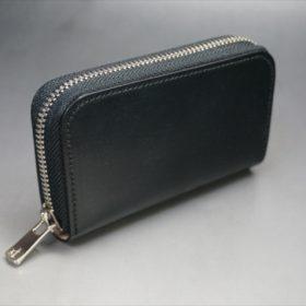 セドウィック社製ブライドルレザーのブラック色のラウンドファスナー小銭入れ(シルバー色)-1-2