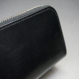 セドウィック社製ブライドルレザーのブラック色のラウンドファスナー小銭入れ(シルバー色)-1-3