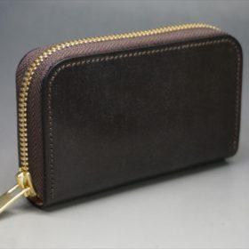 セドウィック社製ブライドルレザーのチョコ色のラウンドファスナー小銭入れ(ゴールド色)-1-2