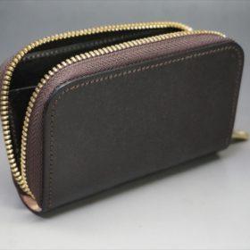 セドウィック社製ブライドルレザーのチョコ色のラウンドファスナー小銭入れ(ゴールド色)-1-6