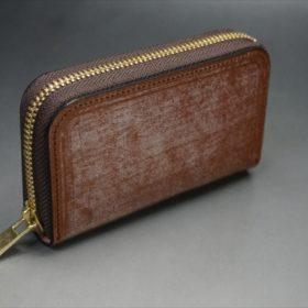 セドウィック社製ブライドルレザーのヘーゼルブラウンのラウンドファスナー小銭入れ(ゴールド色)-1-2