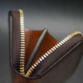 セドウィック社製ブライドルレザーのヘーゼルブラウンのラウンドファスナー小銭入れ(ゴールド色)-1-7