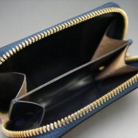 セドウィック社製ブライドルレザーのネイビー色のラウンドファスナー小銭入れ(ゴールド色)-1-7