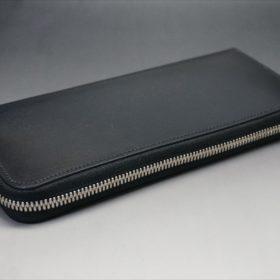 セドウィック社製ブライドルレザーのブラックカラーのラウンドファスナー長財布の外側平置き