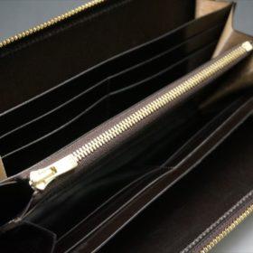 セドウィック社製ブライドルレザーのチョコカラーのラウンドファスナー長財布の内側上部