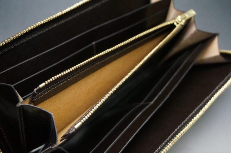セドウィック社製ブライドルレザーのチョコカラーのラウンドファスナー長財布の小銭入れ